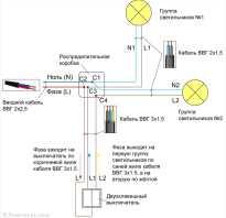 Схема подключения двухклавишного выключателя лезард