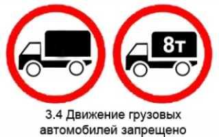 Движение грузовых автомобилей запрещено штраф